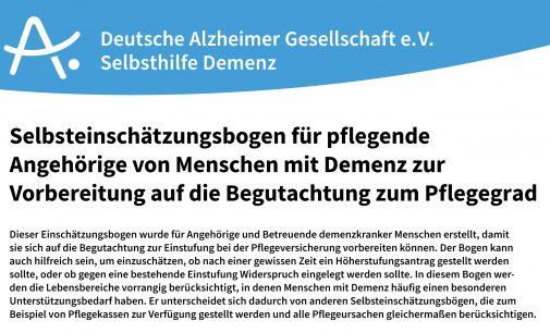 Hilfe bei der Beantragung eines Pflegegrads: Neuer Selbsteinschätzungsbogen der Deutschen Alzheimer Gesellschaft