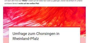 Chorverband Rheinland-Pfalz startet landesweite Umfrage zum Chorsingen