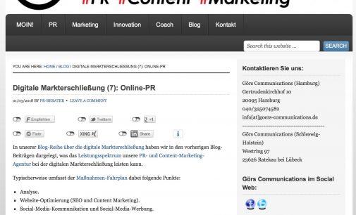 Görs Communications Blog Serie Digitale Markterschließung – Teil 7: Online-PR