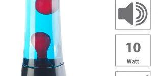 Lunartec Lavalampe rot/blau mit 10-Watt-Lautsprecher