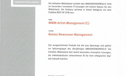 "MMM-Artist-Management –  ""Bestes Newcomer Management 2018"""