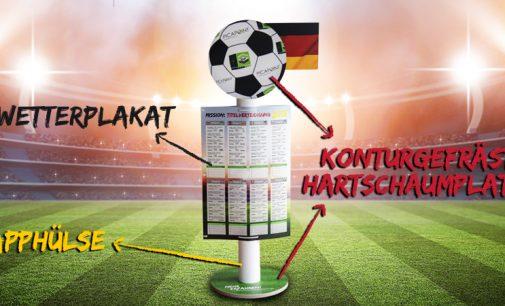 Aufsteller zum Fußball-Event des Jahres