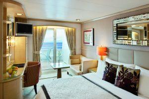 "Deluxe Außen Stateroom mit privater Veranda an Bord der ""Crystal Symphony"""