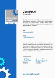 Zertifikat INDUSTRIEPREIS 2018 ©Kronoton GmbH