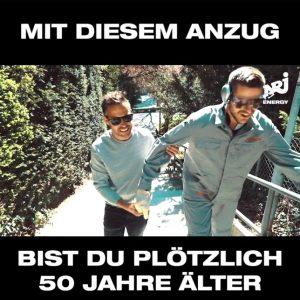 """Radio Energy Moderatoren Moser & Schelker erleben """"Abenteuer"""" im AgeMan Altersanzug."""