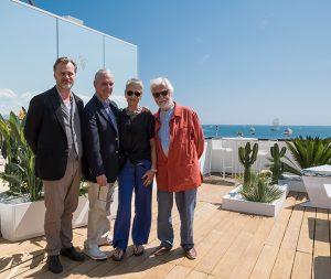 In der Mouton Cadet Wine Bar 2018: Christopher Nolan, Keir Dullea, Katharina Kubrick and Jan Harlan