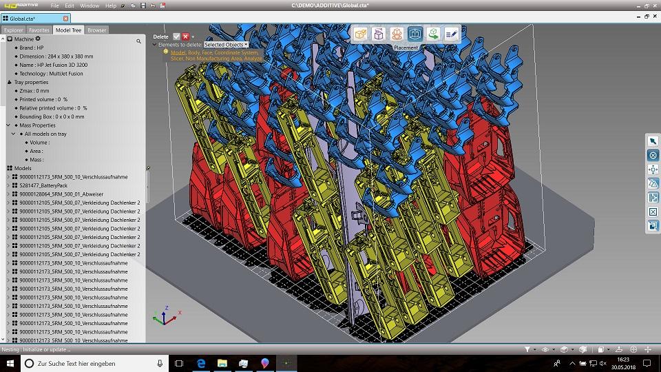 Automatisches Nesting der 4D_Additive Software erlaubt effizientes Packen des Bauraums