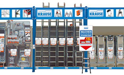 Die richtige Leiter kaufen ist dank des KRAUSE-Stufentesters am POS kein Problem
