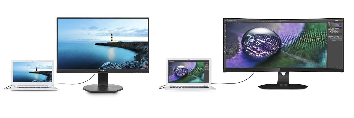 Die neuen Philips Monitore 349P7FUBEB und 272B7QUPBEB mit  USB-C-Dockingstation