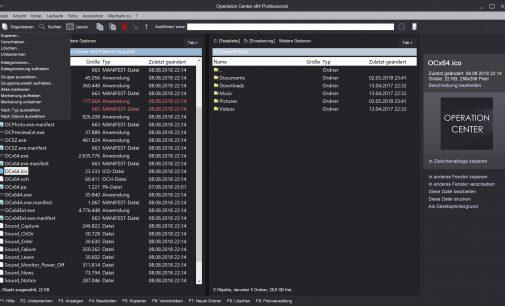 """Dateimanager """"Operation Center x64 Professional"""": Überarbeitete Version"""