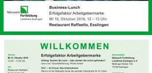"""Business-Lunch """"Erfolgsfaktor Arbeitgebermarke"""" am 10.10.2018"""