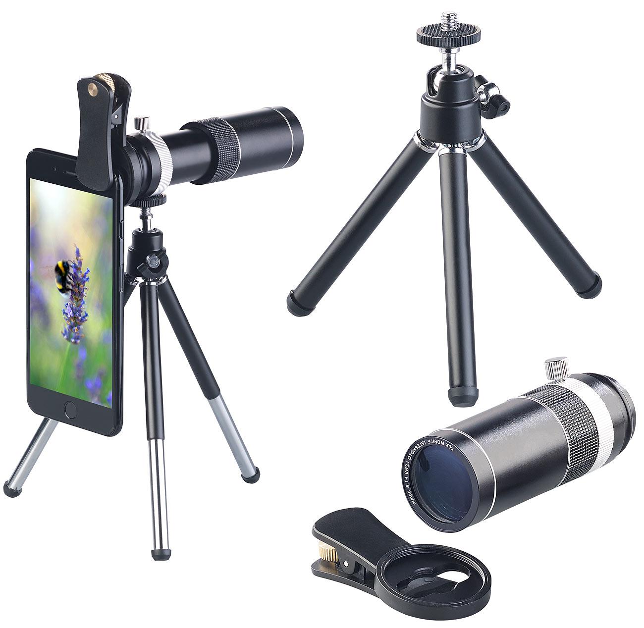 Somikon Vorsatz-Tele-Objektiv 20x CVL-200.tel für Smartphones, www.pearl.de