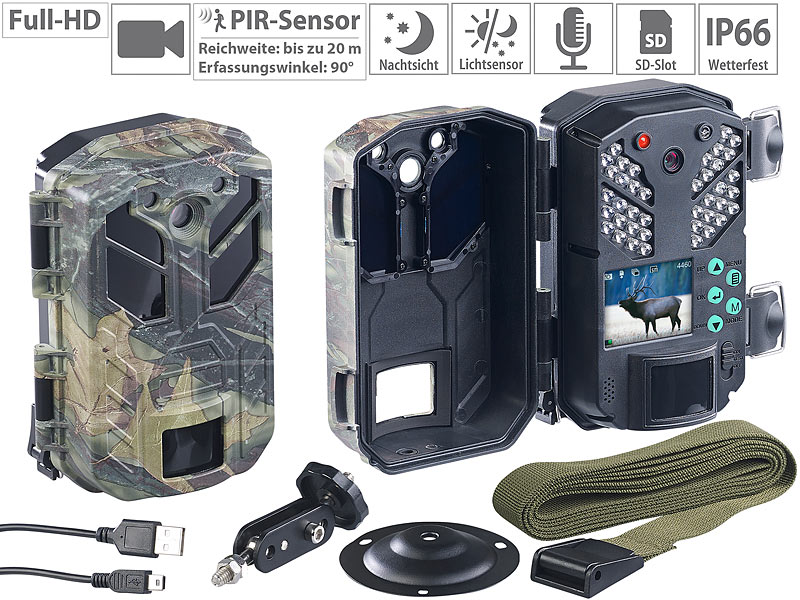 VisorTech Full-HD-Wildkamera WK-585 mit Bewegungssensor, Nachtsicht, Farb-Display, www.pearl.de
