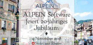 20-jähriges Jubiläum der ALPEIN Software SWISS AG am 09. November 2018