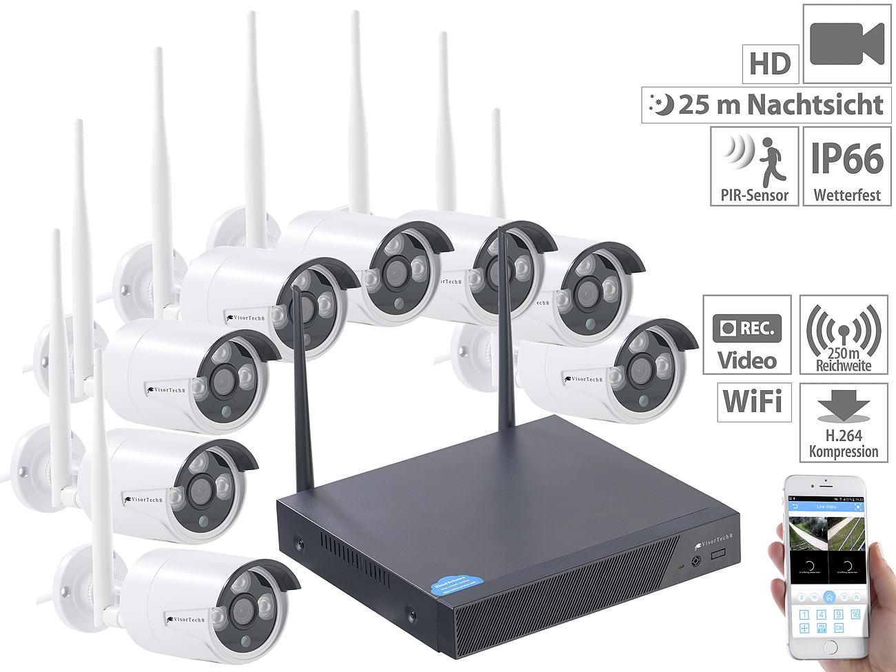 VisorTech Funk-Überwachungssystem DSC-745.PnP, HDD-Recorder & 8 IPKameras, Plug & Play, www.pearl.de