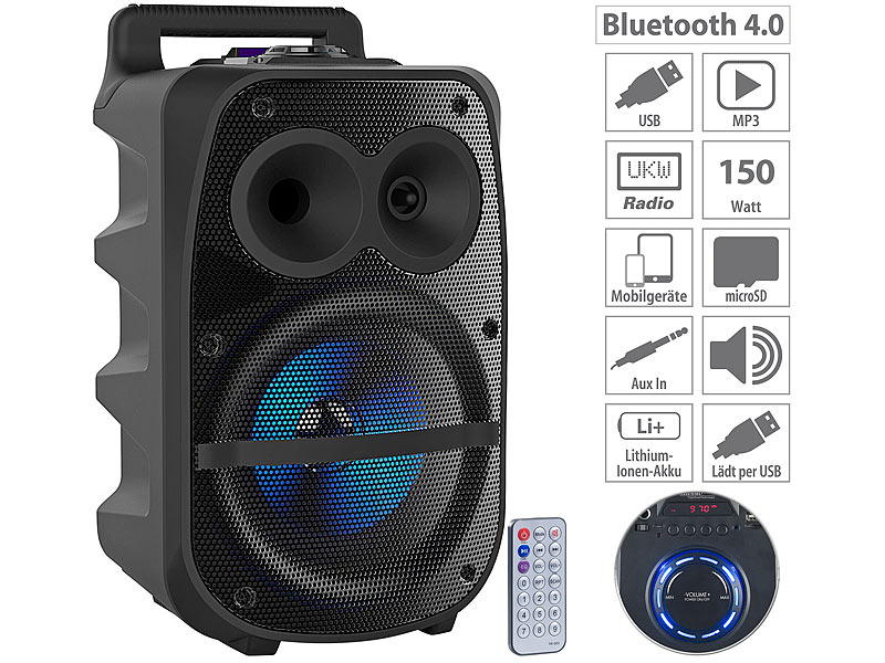 auvisio Mobile PA-Partyanlage PMA-950.k, Bluetooth, MP3, USB, SD, Karaoke, UKW, www.pearl.de