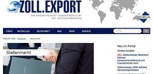 Fachzeitschrift ZOLL.EXPORT ab sofort mit Jobbörse