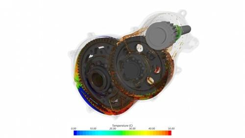 Getriebe mit berechneter Öltemperatur.