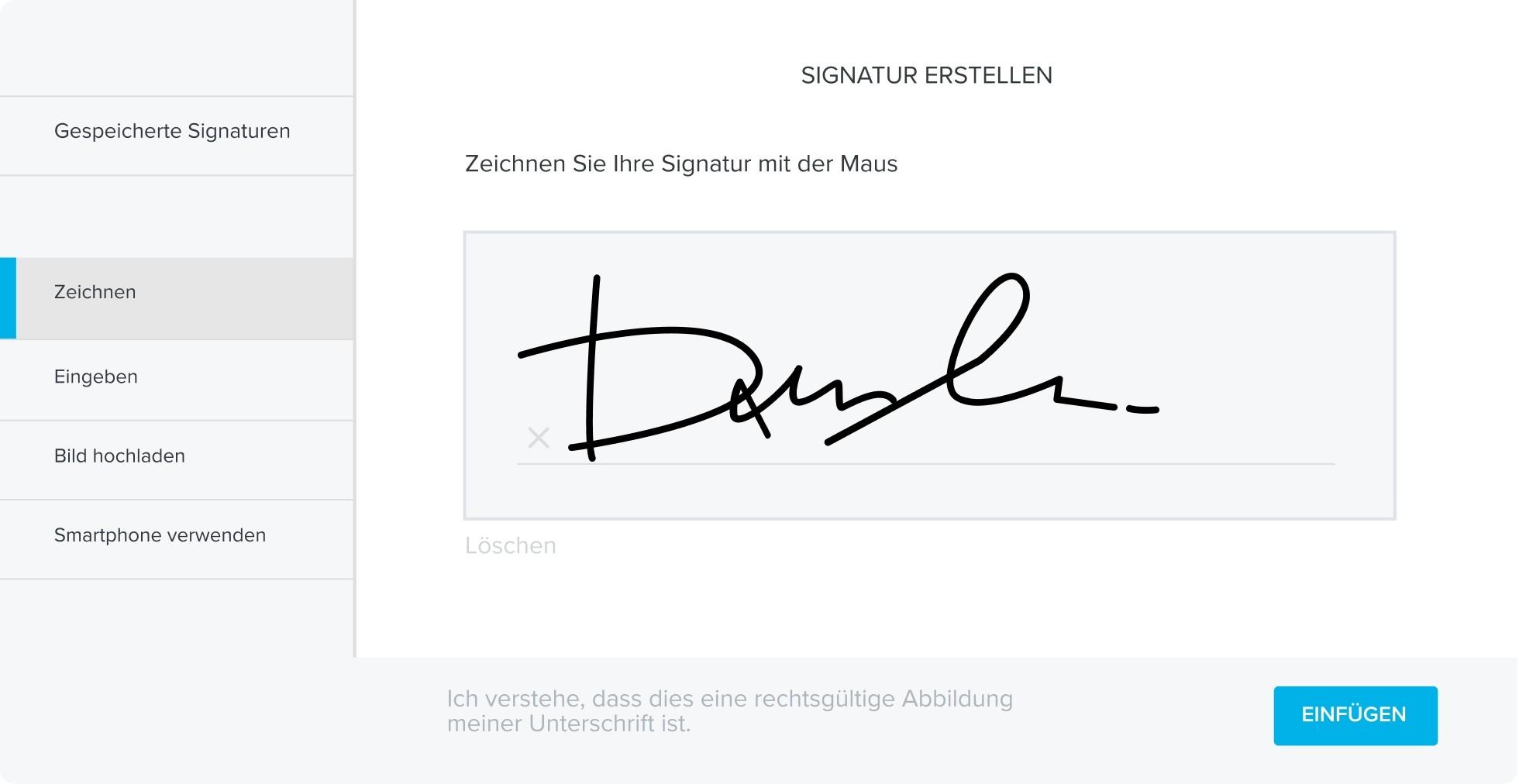 Signatur erstellen mit HelloSign