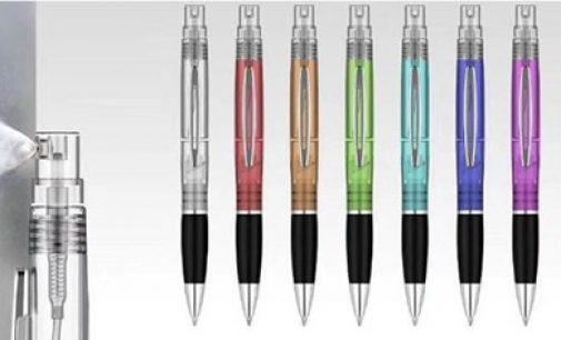 Neu im Programm bei Kronenberg24.de: Kugelschreiber mit Sprühfunktion für Desinfektion oder Parfum