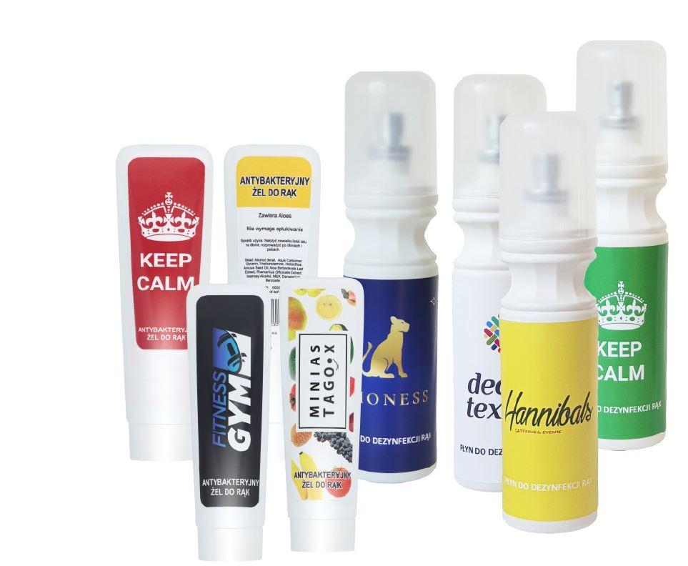 Desinfektionsspray mit Logoaufdruck
