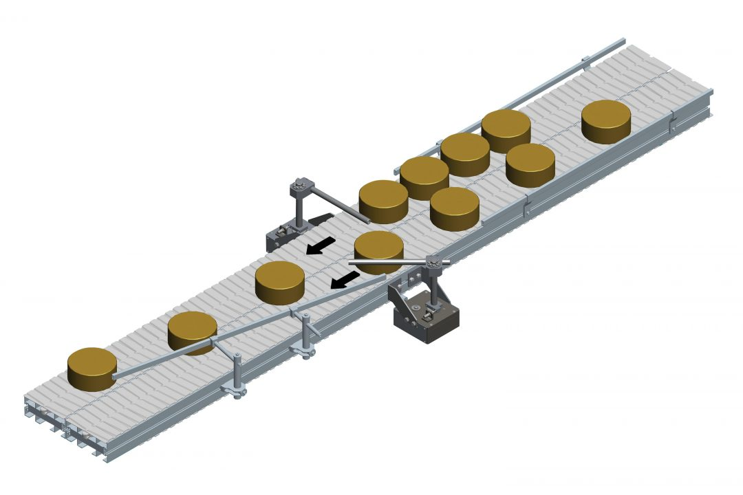 Reibungsloses Zusammenführen des Stückguts von zwei Bahnen auf eine Bahn