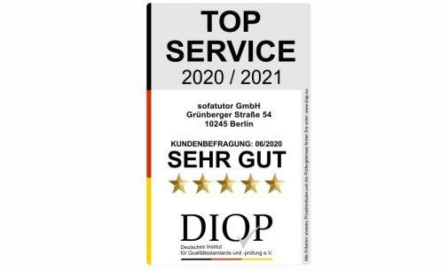Top Service (DIQP) Auszeichnung für Sofatutor