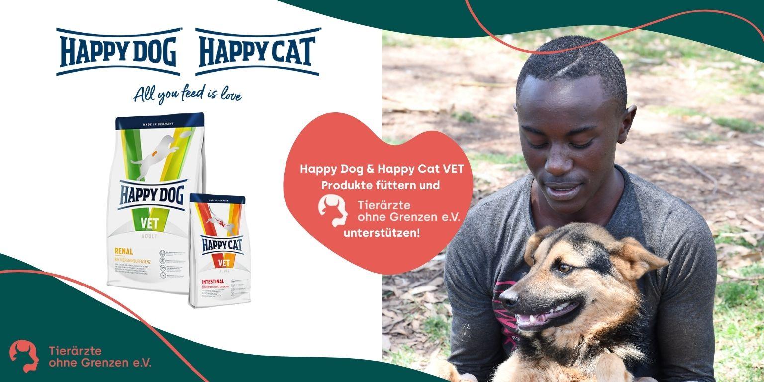 Jeder Kauf eines VET-Produkts von Happy Dog & Happy Cat unterstützt Tierärzte ohne Grenzen.