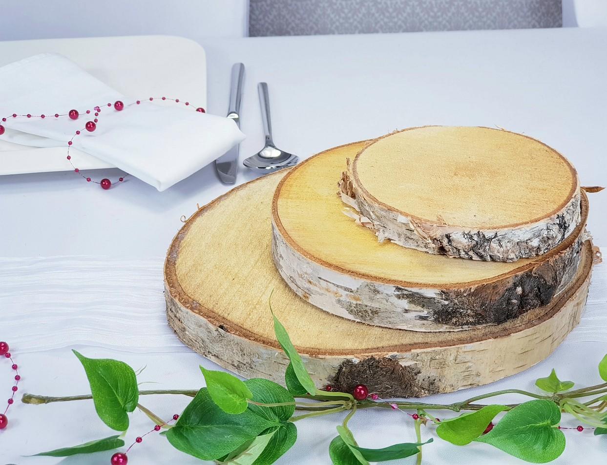 Baumscheiben, Birkenscheiben als Holzdeko in verschiedenen Größen. tischdeko-online, Dorsten