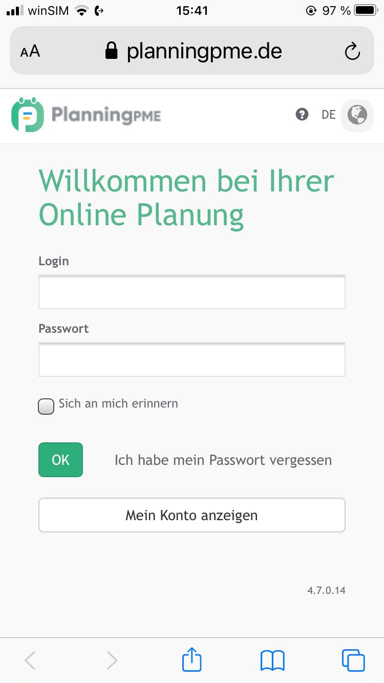Die Webversion von PlanningPME auf einem Smartphone