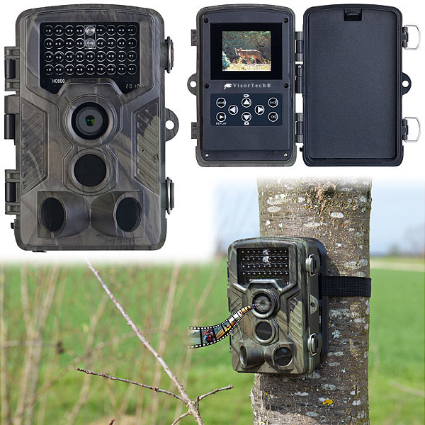 VisorTech Full-HD-Wildkamera WK-610 mit 3 PIR-Sensoren, Nachtsicht, Farbdisplay, IP65, www.pearl.de