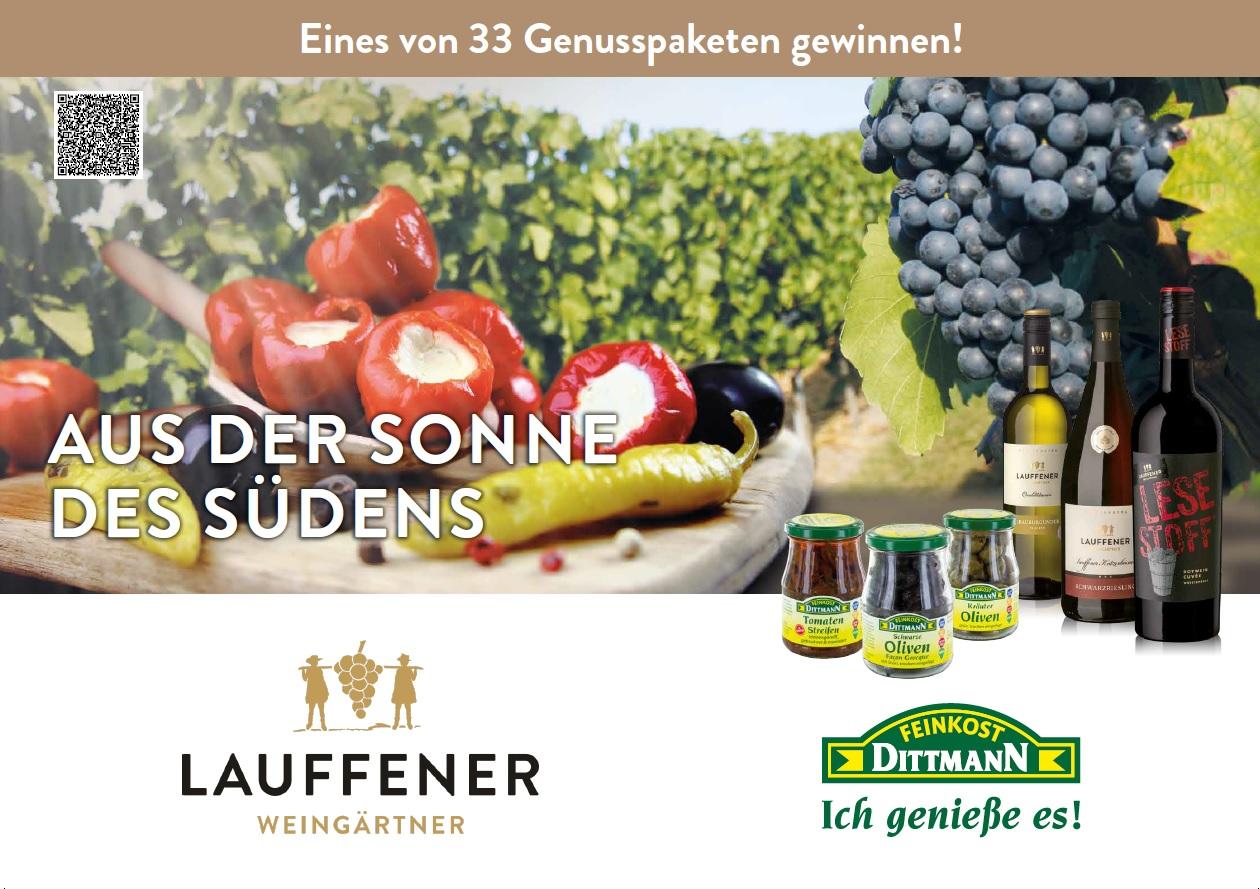 Mit Feinkost Dittmann und den Lauffener Weingärtnern eines von 33 Genusspaketen gewinnen!