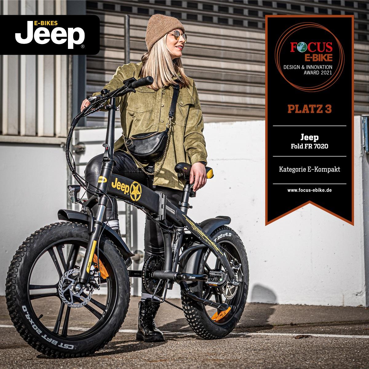 FOCUS Design Award 2021: Platz 3 für Jeep Fold FAT E-Bike FR 7020 in der Kategorie Kompakt.