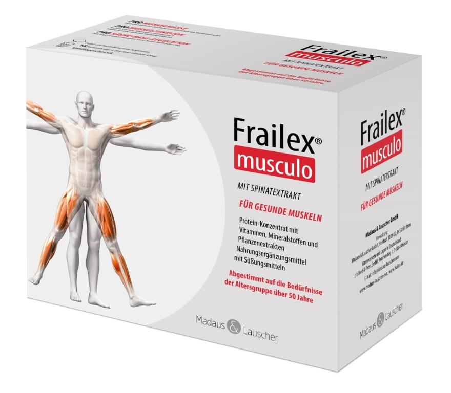 Frailex musculo für kräftige Muskeln im Alter: ausgewählte Nährstoffe und ausreichend Bewegung.