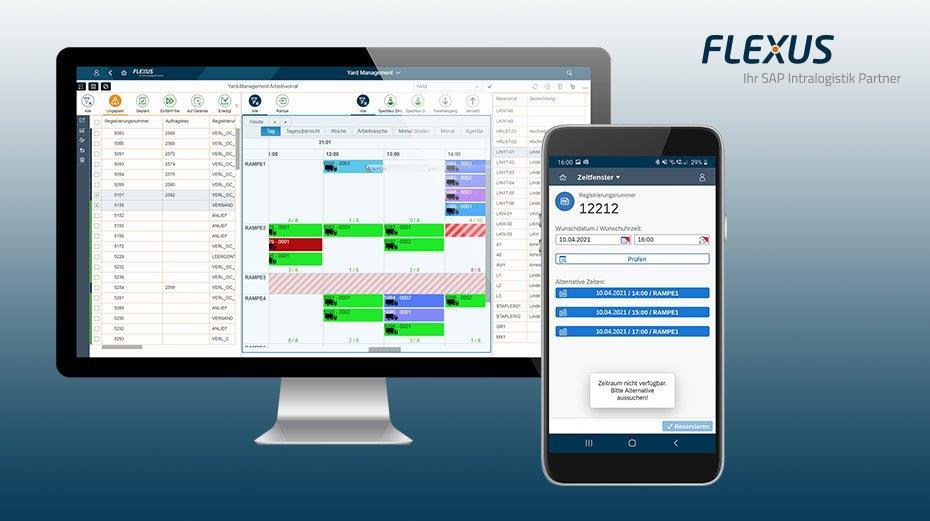 Intuitive Zeitfensterplanung – Rampenzuordnung per drag&drop sowie Avisierung mobil per App mit dem Flexus Yard Management. Foto: Flexus AG