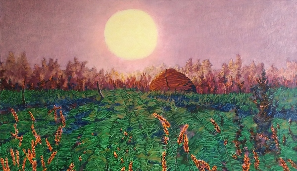 Viktor Kovalyk, Sonnenuntergang, Leinen, Aquarell, Öl, Lack, 120x70cm