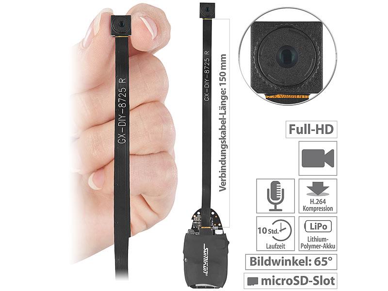Somikon Full-HD-Micro-Einbau-Kamera DV-310.mini mit Akku, www.pearl.de