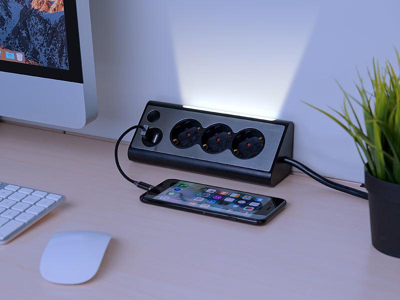 revolt 3-fach-Eck-Steckdosenleiste mit 2 USB-Lade-Ports und LED-Nachtlicht, www.pearl.de