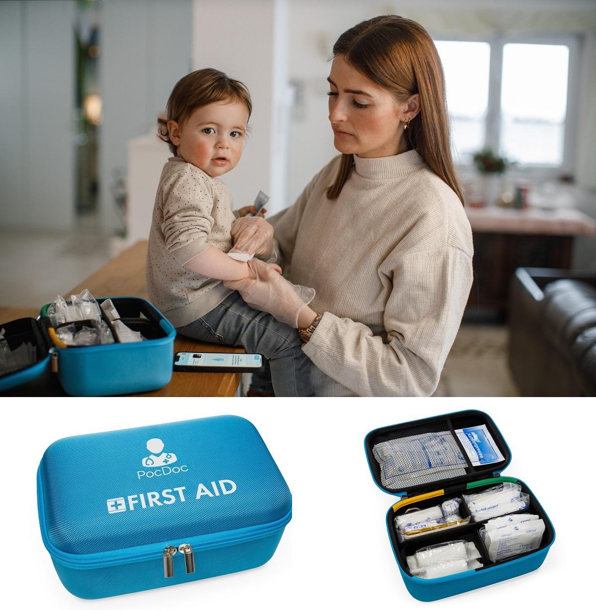 PocDoc-System aus Verbandkasten und App bietet Ersthilfe-Maßnahmen für Kinder und Säuglinge.