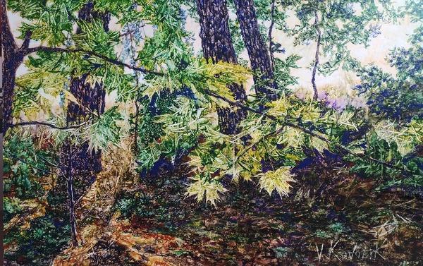 Viktor Kovalyk, Sommerfrische, Leinen, Aquarell, Pigment, Lack, 60x95 cm