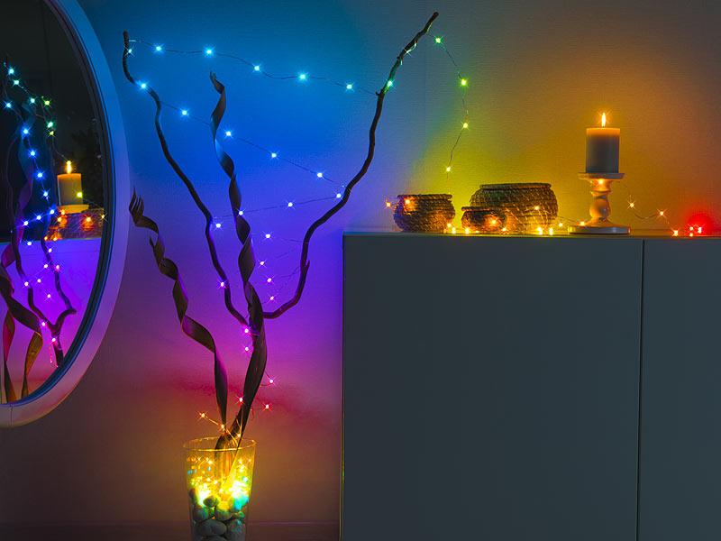 Luminea Home Control RGB-LED-Lichterdraht mit Musik-Steuerung, WLAN und App, USB, www.pearl.de