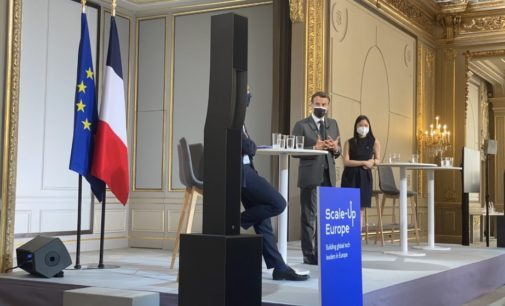 BITMi-Präsident Oliver Grün trifft Präsident Macron zum Start von Scale-Up Europe in Paris