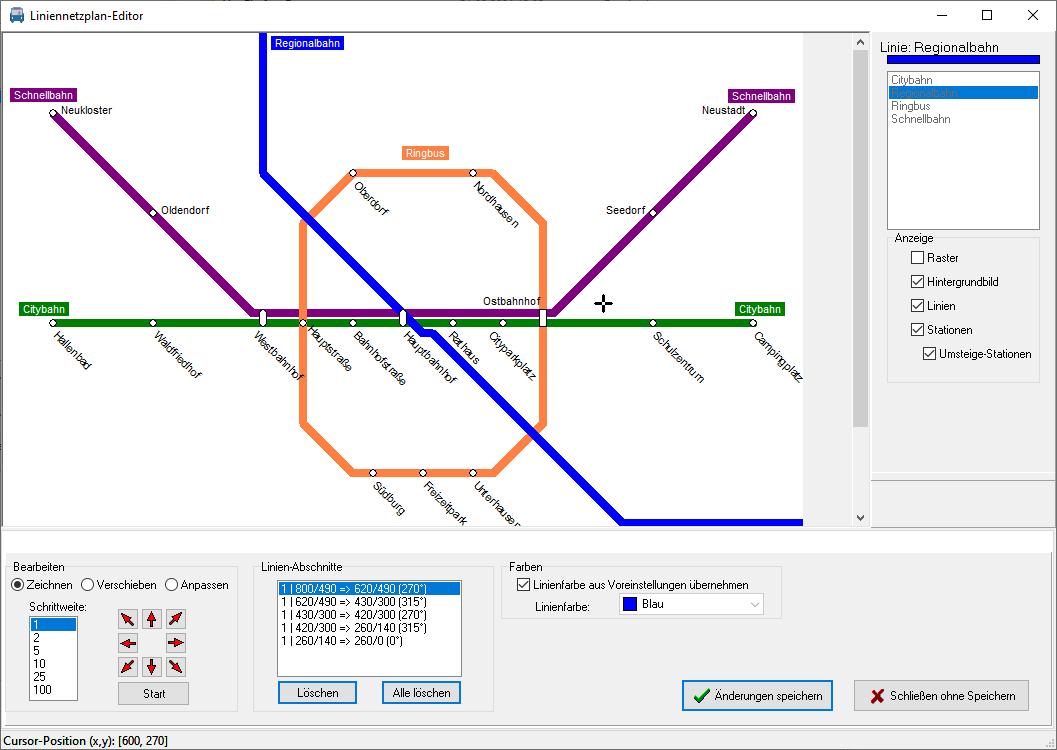 Linemap Draw Screenschot  mit geöffneten Beispielprojekt