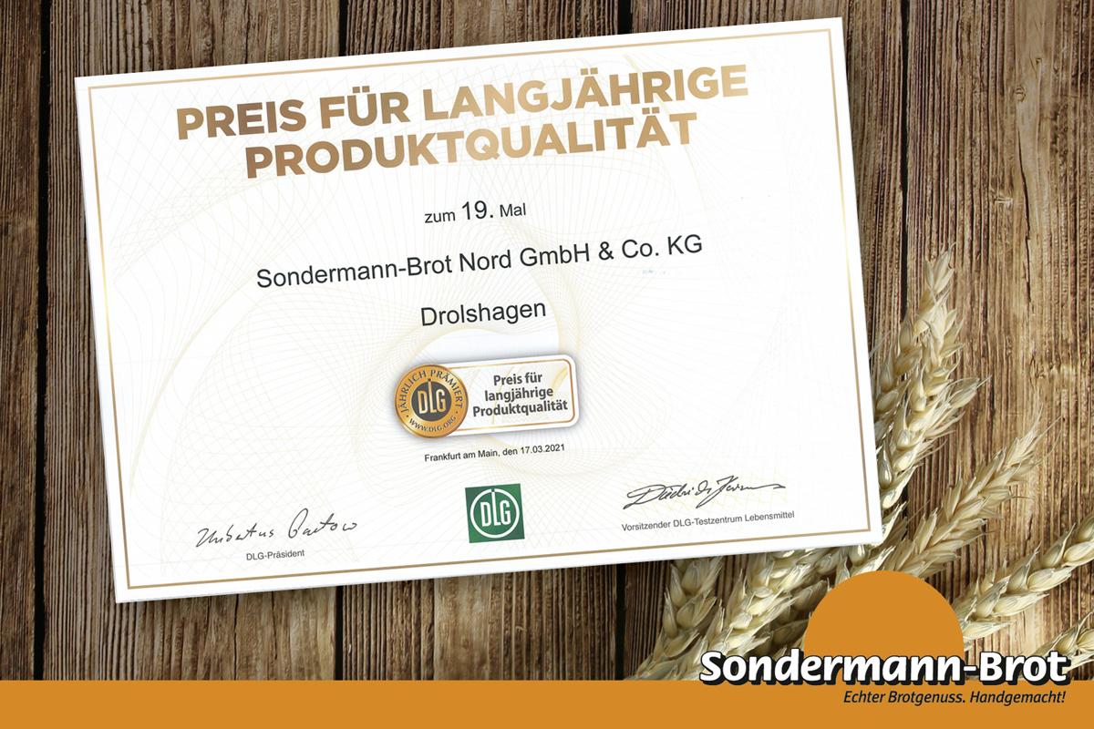 DLG-Urkunde f. langjährige Produktqualität