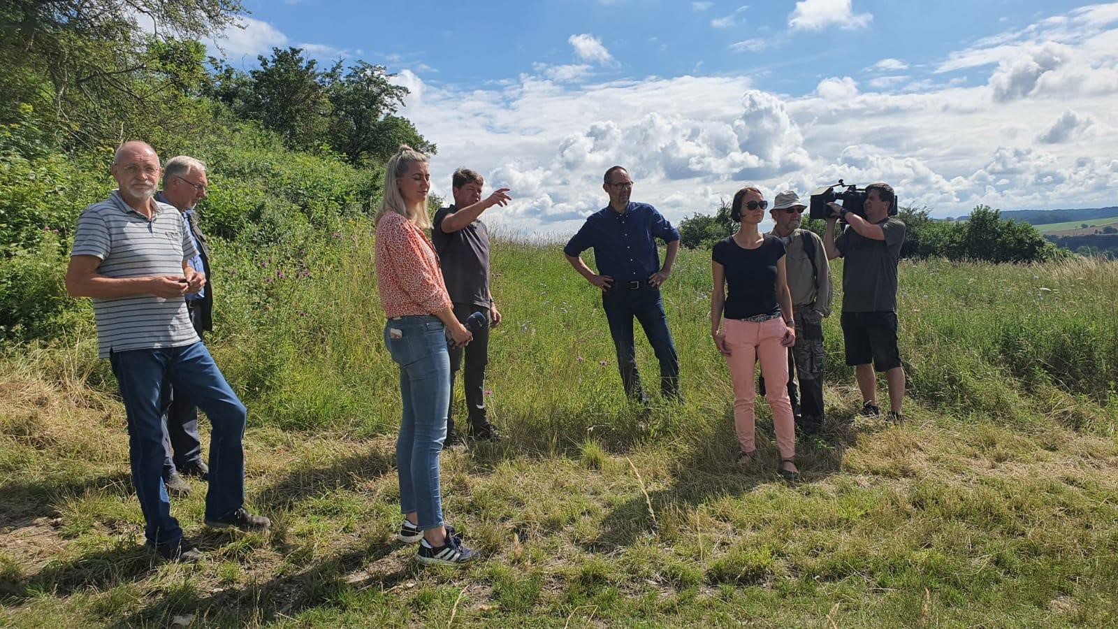 Staatssekretär Olaf Möller und Teilnehmer informieren sich zum Blühpflanzenfeld
