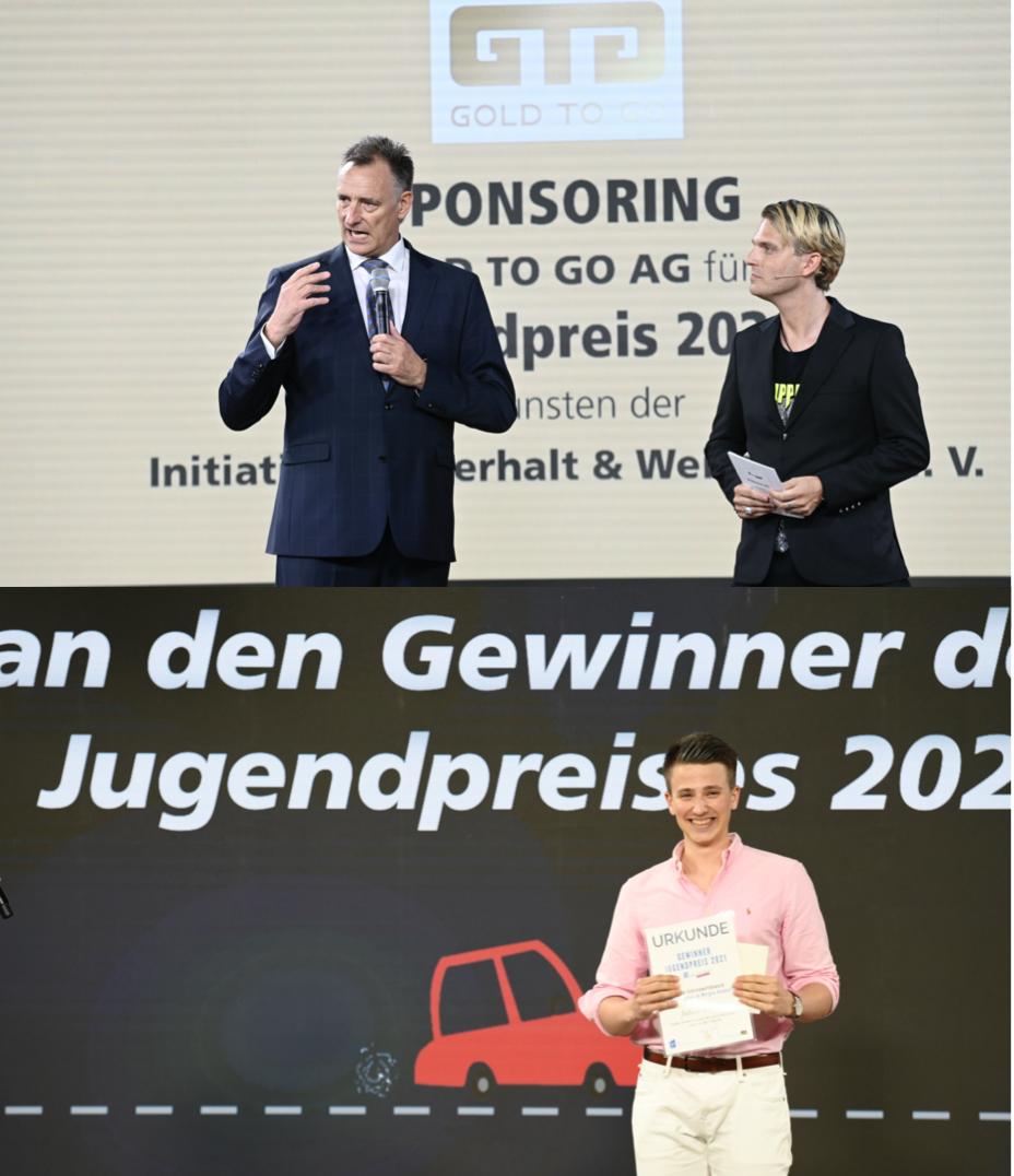 Oben: Rudolf Engelsberger CEO GOLD TO GO AG Schweiz.   Unten: Preisträger Joshua Steib.