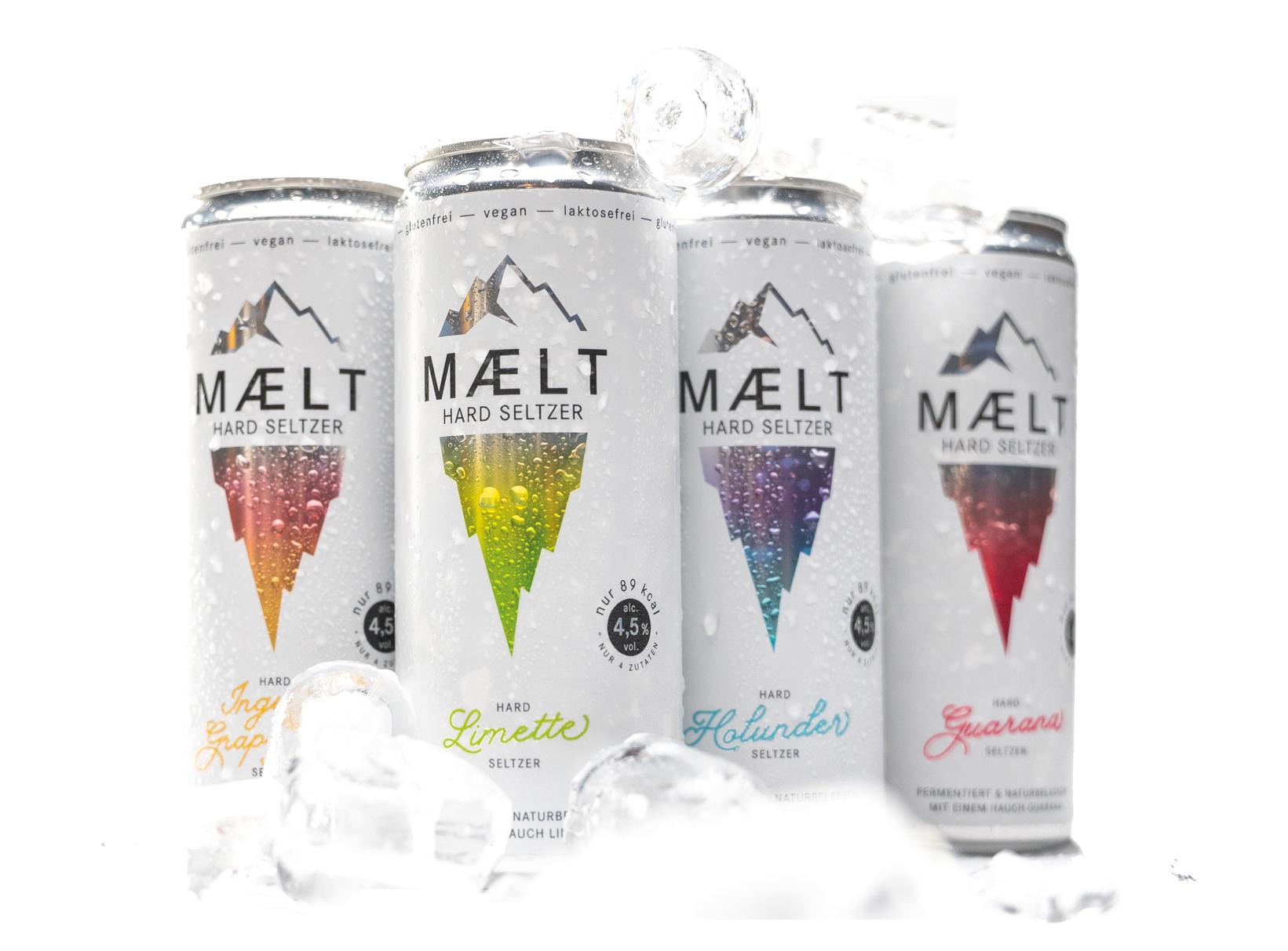 MAELT Hard Seltzer gibt es in vier Sorten - spritzig, frisch und mit 4,5 % Alkohol.