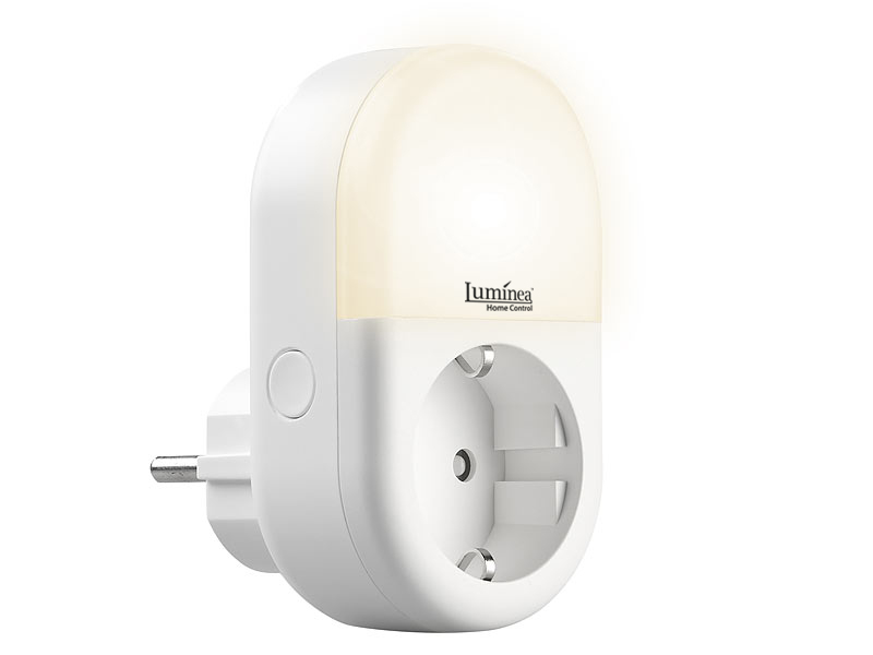 Luminea Home Control WLAN-Steckdose SF-100.nl mit smartem LED-Nachtlicht, www.pearl.de