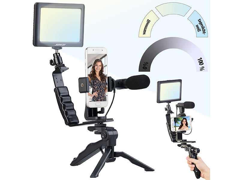 Somikon 4-teiliges Vlogging-Set mit LED-Leuchte, Mikrofon, Stativ & Halterung, www.pearl.de