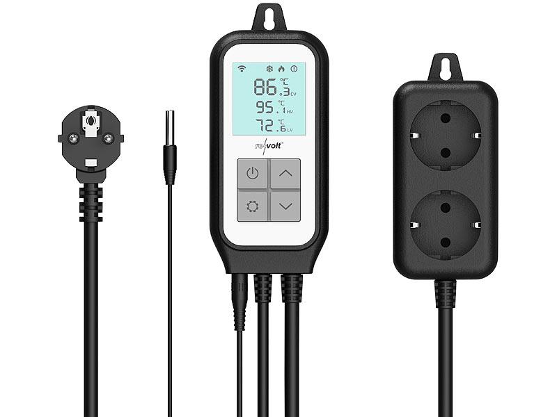 revolt WLAN-Steckdosen-Thermostat für 2 Geräte, Sensor, App, Sprachsteuerung, www.pearl.de